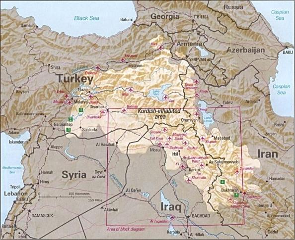 Le aree popolate dai curdi in una carta della CIA