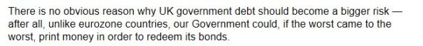 Per il Daily Mail il debito non è un problema: basterà stampar sterline