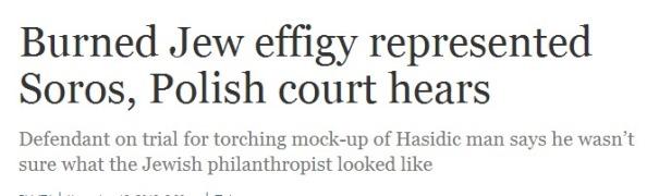 Non sapendo che faccia abbia, gli estremisti di destra polacchi hanno bruciato l'effigie di un ebreo ortodosso